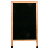 Aarco A-11 42 inch x 24 inch Oak A-Frame Sign Board with Black Marker Board