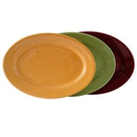 Tuxton DYH-140 DuraTux 14 1/8 inch x 10 inch x 1 1/2 inch Assorted Colors China Oval Platter - 12/Case