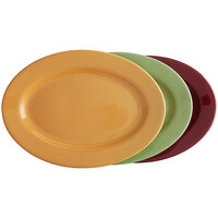 Tuxton DYH-140 14 1/8 inch x 10 inch x 1 1/2 inch Assorted Colors China Oval Platter - 12/Case