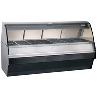 Alto-Shaam TY2SYS-96/PR SS Stainless Steel Heated Display Case with Curved Glass and Base - Right Self Service 96 inch