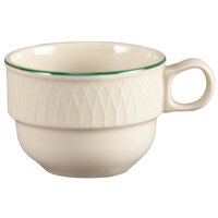 Homer Laughlin 1430-0314 Green Jade Gothic Off White 7.5 oz. Stacking Cup - 36/Case