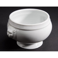 CAC LN-32-P 32 oz. Bright White Porcelain Lion Head Bouillon - 12/Case
