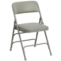 Flash Furniture HA-MC309AV-GY-GG Gray Metal Folding Chair with 1 inch Padded Vinyl Seat