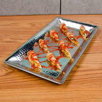 American Metalcraft HMRT814 14 inch x 7 inch Hammered Stainless Steel Serving Tray