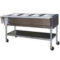 Eagle Group SPDHT4 Portable Hot Food Table Four Pan - All Stainless Steel - Open Well, 240V