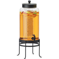 Cal-Mil 1580-3-13 3 Gallon Black Soho Glass Beverage Dispenser with Ice Chamber - 10 inch x 12 inch x 24 1/2 inch