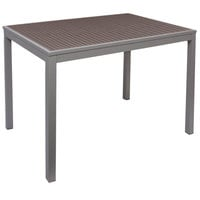 BFM Seating PH4L3148GRSGT Seaside 31 inch x 48 inch Soft Gray Metal Bolt-Down Bar Height Table with Gray Synthetic Teak Top