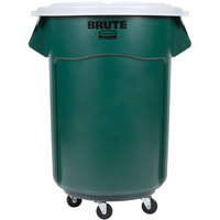 Rubbermaid BRUTE 55 Gallon Green Recycle / Trash Can with White Lid and Dolly
