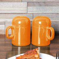 Homer Laughlin 756325 Fiesta Tangerine Rangetop Salt and Pepper Shaker Set - 4/Case