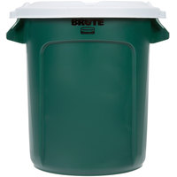 Rubbermaid BRUTE 10 Gallon Green Recycling Can with White Lid