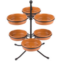 Tablecraft TPSL13KITTC 13 inch 2-Tier Tapas Stand with 6 Terra Cotta Tapas Bowls