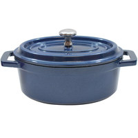 Tablecraft CWDCC562MB 8 oz. Mediterranean Blue Die Cast Aluminum Mini Oval Cocotte