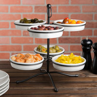 Tablecraft TPSL13KITWH 13 inch 2-Tier Tapas Stand with 6 White Tapas Bowls