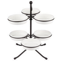 Tablecraft TPSS11KITWH 10 3/4 inch 2-Tier Tapas Stand with 6 White Tapas Bowls