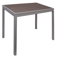 BFM Seating PH4L3131GRSG Seaside 31 inch Square Soft Gray Metal Bolt-Down Standard Height Table with Gray Synthetic Teak Top
