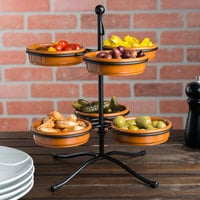 Tablecraft TPSS11KITTC 10 3/4 inch 2-Tier Tapas Stand with 6 Terra Cotta Tapas Bowls