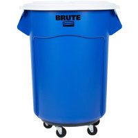 Rubbermaid BRUTE 55 Gallon Blue Recycle / Trash Can with White Lid and Dolly