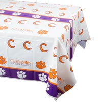 Creative Converting 724831 54 inch x 108 inch Clemson University Plastic Table Cover - 12/Case