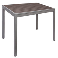 BFM Seating PH4L3535GRSG Seaside 35 inch Square Soft Gray Metal Bolt-Down Standard Height Table with Gray Synthetic Teak Top