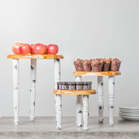 Tablecraft RFMSET Farmhouse 3-Piece White Distressed Riser Set