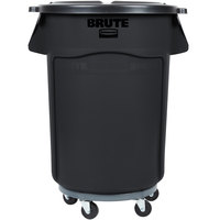 Rubbermaid 690FG44TCBKK BRUTE 44 Gallon Black Executive Trash Can with Lid and Dolly Kit