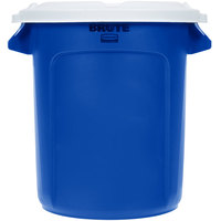 Rubbermaid BRUTE 10 Gallon Blue Recycling Can with White Lid