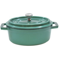 Tablecraft CWDCC562EG 8 oz. Emerald Green Die Cast Aluminum Mini Oval Cocotte