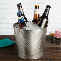 Tablecraft GTSS87 Brickhouse Round Stainless Steel Beverage Pail - 8 1/8 inch x 7 inchH
