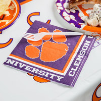 Creative Converting 664831 Clemson University 2-Ply 1/4 Fold Luncheon Napkin - 240/Case