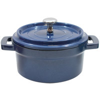 Tablecraft CWDCC542MB 8 oz. Mediterranean Blue Die Cast Aluminum Mini Round Cocotte