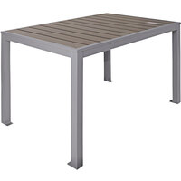 BFM Seating PH4L3148GRSG Seaside 31 inch x 48 inch Soft Gray Metal Bolt-Down Standard Height Table with Gray Synthetic Teak Top