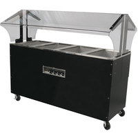 Advance Tabco B4-240-B-S-SB Enclosed Base Everyday Buffet Stainless Steel Four Pan Electric Hot Food Table with Stainless Steel Liners - Open Well - 208/240V