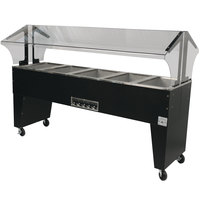 Advance Tabco B5-240-B-S Open Base Everyday Buffet Stainless Steel Five Pan Electric Hot Food Table with Stainless Steel Liners - Open Well - 208/240V