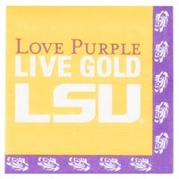 Creative Converting 660838 Louisiana State University 2-Ply 1/4 Fold Luncheon Napkin - 240/Case