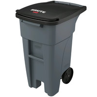 Rubbermaid 1971941 Brute 32 Gallon Gray Standard Rollout Container with Lid