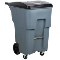Rubbermaid 1971994 Brute 95 Gallon Gray Rollout Trash Container with Lid and Casters