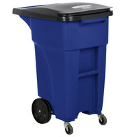 Rubbermaid 1971949 Brute 32 Gallon Blue Rollout Trash Container with Lid and Casters