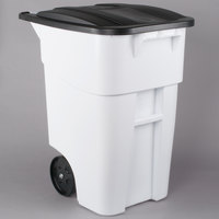 Rubbermaid 1829410 Brute 50 Gallon White Standard Rollout Container with Lid