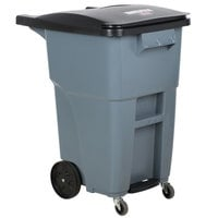 Rubbermaid 1971962 Brute 50 Gallon Gray Step-On Rollout Container with Lid and Casters