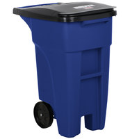 Rubbermaid 1971943 Brute 32 Gallon Blue Rollout Trash Container with Lid