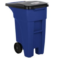 Rubbermaid 1971943 Brute 32 Gallon Blue Standard Rollout Container with Lid