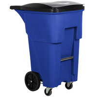 Rubbermaid 1971973 Brute 65 Gallon Blue Rollout Trash Container with Lid and Casters