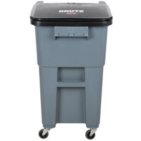 Rubbermaid 1971959 Brute 50 Gallon Gray Rollout Trash Container with Lid and Casters