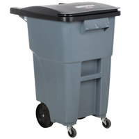 Rubbermaid 1971959 Brute 50 Gallon Gray Standard Rollout Container with Lid and Casters