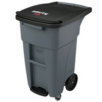 Rubbermaid 1971950 Brute 32 Gallon Gray Step-On Rollout Trash Container with Lid and Casters