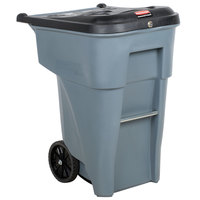 Rubbermaid FG9W1088GRAY Brute 65 Gallon Gray Confidential Document Rollout Container with Locking Lid