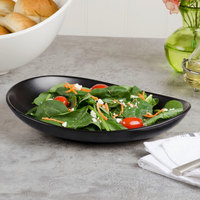 World Tableware DRI-7-O Driftstone 10 7/8 inch x 8 1/2 inch Onyx Satin Matte Organic Porcelain Coupe Plate - 12/Case