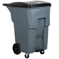 Rubbermaid 1971997 Brute 95 Gallon Gray Step-On Rollout Trash Container with Lid and Casters