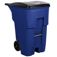 Rubbermaid FG9W2273BLUE Brute 95 Gallon Blue Standard Rollout Container with Lid