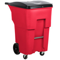 Rubbermaid 1972000 Brute 95 Gallon Red Rollout Trash Container with Locking Lid and Casters